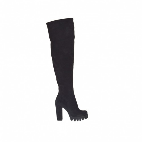 Bottes au-dessus de genou pour femmes en daim noir talon 9 - Pointures disponibles: 31, 34, 42, 43