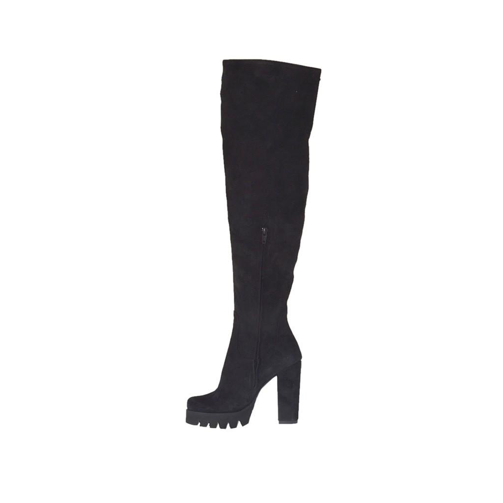 bottes au dessus de genou pour femmes en daim noir talon 9 ghigocalzature. Black Bedroom Furniture Sets. Home Design Ideas