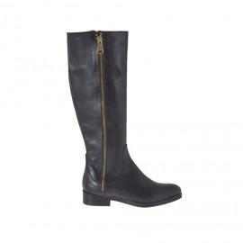 Botas para mujer con cremalleras en piel negra tacon 2 - Tallas disponibles:  34