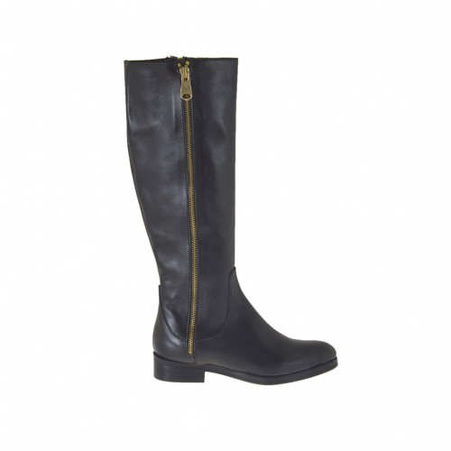 Woman's boot with zippers in black leather heel 2 - Available sizes:  34