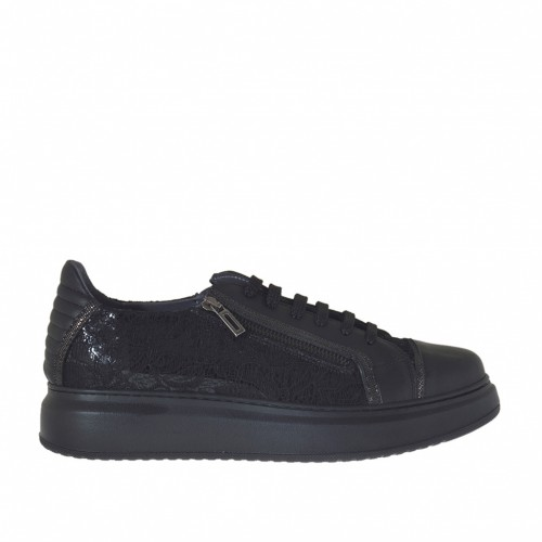 Woman's laced sports shoe with zipper in black leather, patent leather and lace and gunmetal glitter wedge 4 - Available sizes:  44