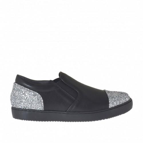 Chaussure pour femmes avec elastiques en cuir noir avec paillettes argent talon compensé 2 - Pointures disponibles:  32, 33, 34, 43, 45, 46