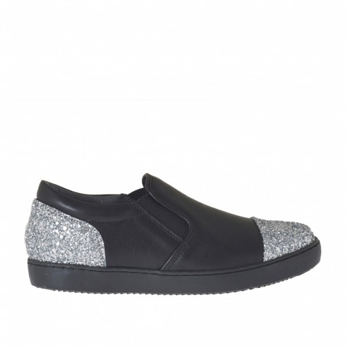 Woman's shoe with elastic bands in black leather with silver glitter wedge heel 2 - Available sizes:  32, 33, 34, 43, 45, 46