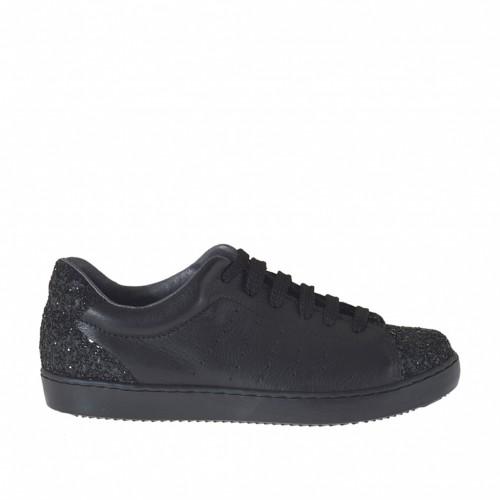 Zapato deportivo con cordones para mujer en piel perforada y glitter negro cuña 2 - Tallas disponibles:  32, 33, 34