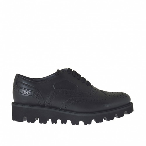 Woman's laced Oxford shoe in black leather wedge heel 3 - Available sizes:  32, 44, 45, 46