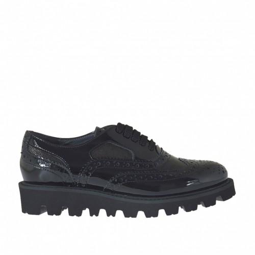 Chaussure oxford pour femmes à lacets en cuir verni noir et glitter bronce à canon talon compensé 3 - Pointures disponibles: 34, 42, 46