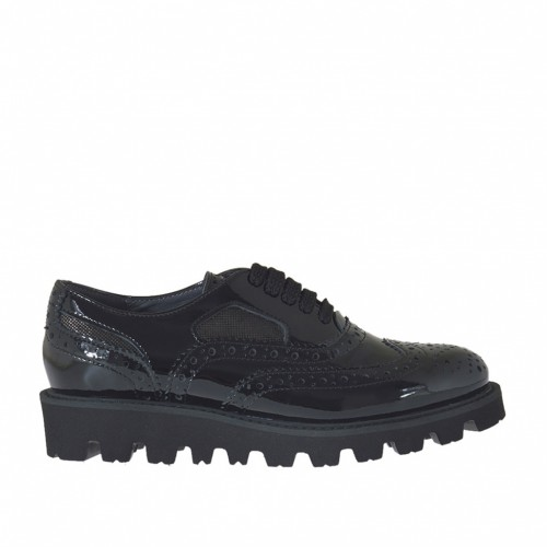 Woman's laced Oxford shoe in black and glittered gunmetal patent leather wedge heel 3 - Available sizes:  46