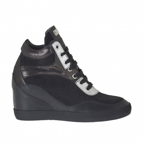 Chaussure à lacets avec goujons et plateforme en daim et cuir noir, cuir verni argent et glitter bronce à canon talon compensé 7 - Pointures disponibles:  42