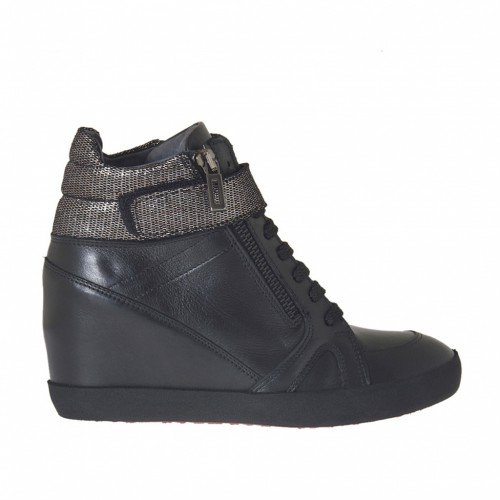 Woman's laced shoe with platform,velcro and zipper in black leather and gunmetal fabric covered leather wedge 7 - Available sizes:  42