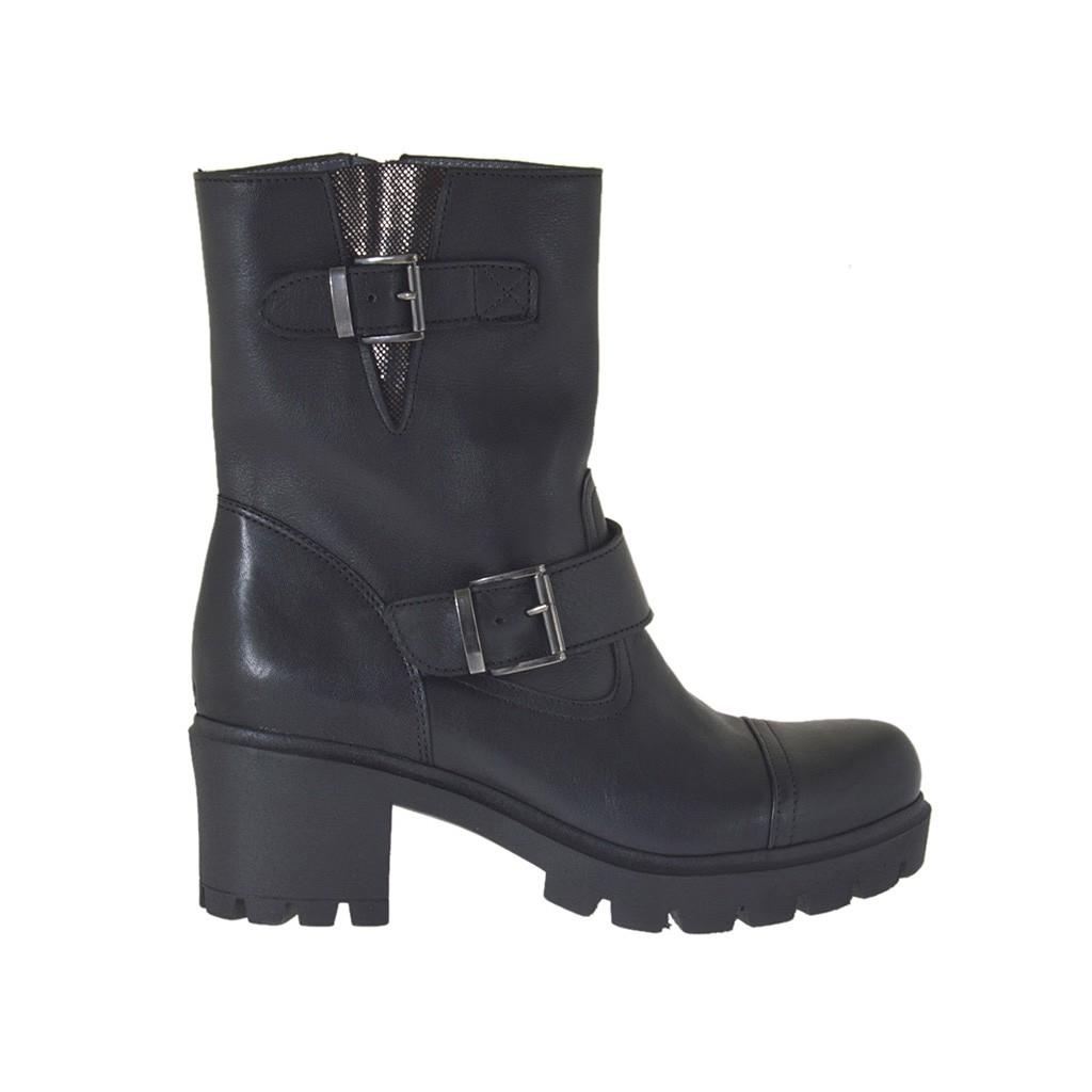 bottines pour femmes avec fermeture éclair et boucles en cuir noir