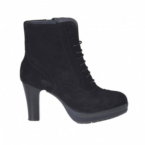 Bottine à lacets pour femmes en daim noir avec plateforme talon 7 - Pointures disponibles:  42