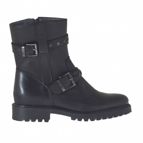 Woman's ankle boot with zipper, studs and buckles in black leather heel 3 - Available sizes:  32, 33