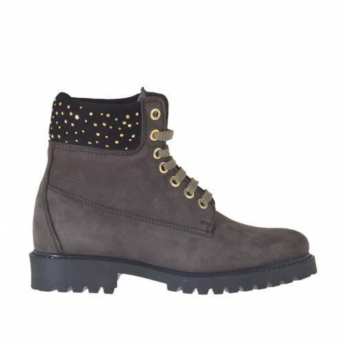 Woman's laced ankle boot with studs in brown nubuck leather and dark brown suede heel 3 - Available sizes:  33, 46