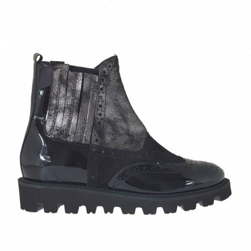 Stiefelette mit Gummibändern aus grau-laminiertem Leder mit Antik-Look und schwarzem Wild- und Lackleder Keilabsatz 3 - Verfügbare Größen: 32, 33, 34, 42, 44, 45
