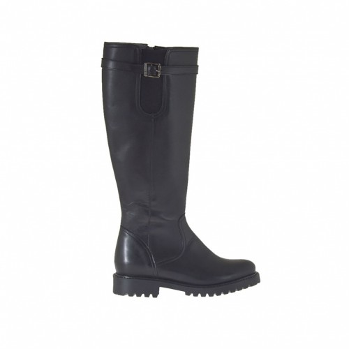 Woman's boot with zipper, elastic band and buckle in black leather heel 3 - Available sizes:  34, 42, 44