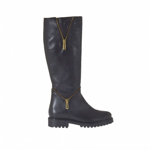 Woman's boot in black leather with inner zipper and decorative zippers heel 3 - Available sizes:  42, 46