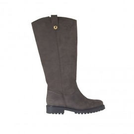Woman's boot with zipper in taupe brown nubuck leather heel 3 - Available sizes: 33, 42, 44, 45, 46