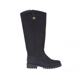 Woman's boot with zipper in black nubuck leather heel 3 - Available sizes: 33, 42, 43, 44, 45, 46