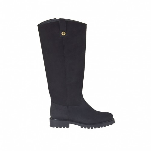 Woman's boot with zipper in black nubuck leather heel 3 - Available sizes:  33, 42, 43