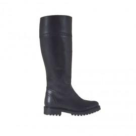 Bottes richelieu pour femmes avec fermeture éclair en cuir noir talon 3 - Pointures disponibles:  44