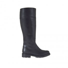 Woman's Oxford style boot with zipper in black leather heel 3 - Available sizes: 42, 44, 46