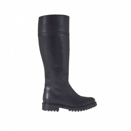 Woman's Oxford style boot with zipper in black leather heel 3 - Available sizes:  44