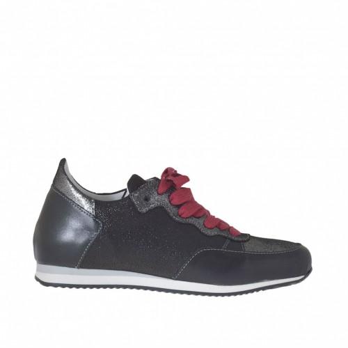 Scarpa stringata sportiva da donna con lacci rossi in pelle stampata glitterata nera e argento e pelle nera con zeppa 2 - Misure disponibili: 43, 44