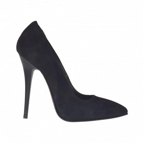 Escarpin à bout pointu pour femmes en daim noir talon 10 - Pointures disponibles:  34
