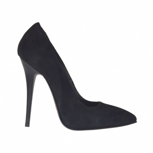 Woman's pointy pump in black suede heel 10 - Available sizes:  34