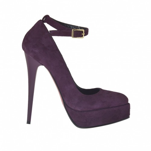 Woman's platform pump in eggplant purple suede with strap heel 12 - Available sizes:  42, 43, 44, 45, 46