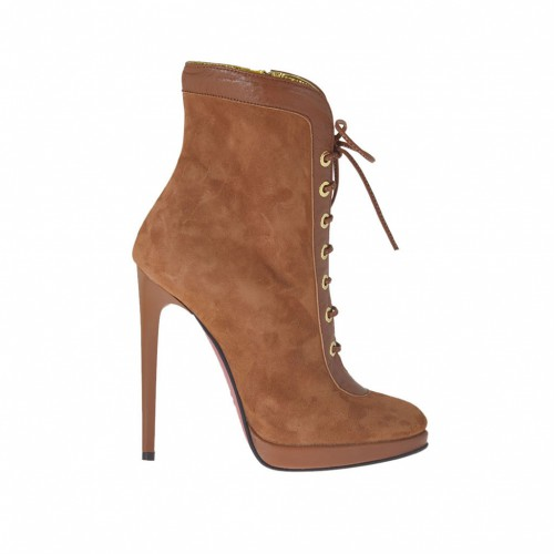 Woman's ankle-boot with lace and platform in tobacco leather and suede heel 11 - Available sizes:  32, 34, 42, 43, 44