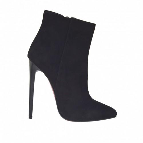 Botines para mujer en gamuza negra con cremallera, plataforma y tacon 11 - Tallas disponibles:  32, 42