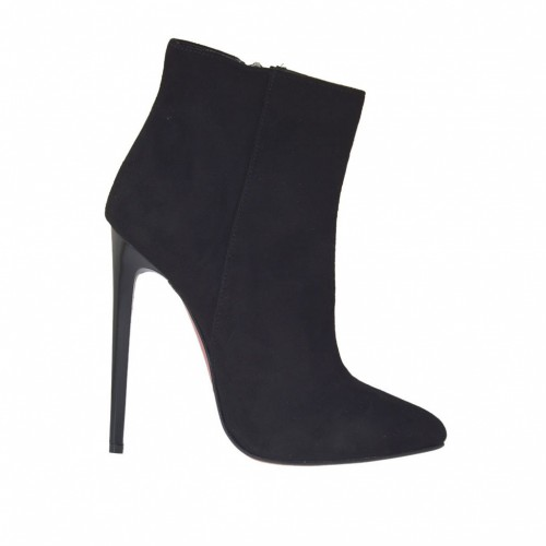 Woman's ankle boot in black suede with zipper, platform and heel 11 - Available sizes:  42