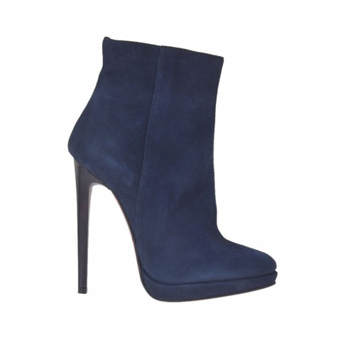 Woman's ankle boot in blue suede with zipper, platform and heel 11 - Available sizes:  32, 42, 44