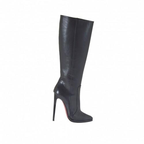 Spitzer Damenstiefel mit Rei?verschluss und Plateau aus schwarzem Leder und mit Absatz 11 - Verfügbare Größen:  33, 42