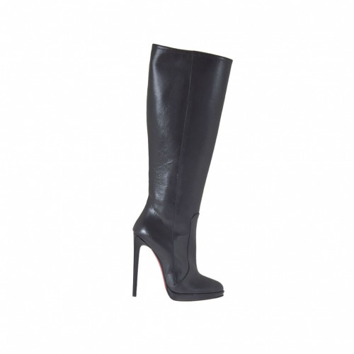 Woman's  boot with zipper and platform in black leather heel 11 - Available sizes:  32, 33, 34