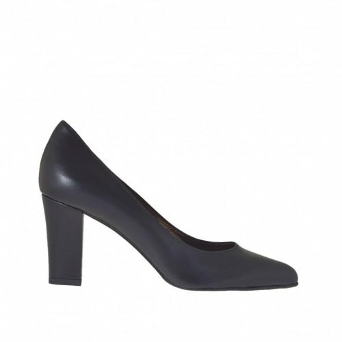 Escarpin pour femmes en cuir couleur noir talon carré 7 - Pointures disponibles:  43