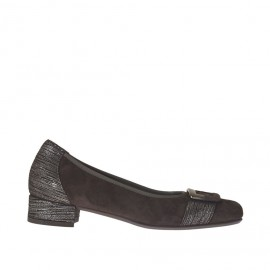 Woman's pump shoe with accessory in brown suede and silver cuts heel 2 - Available sizes:  32, 44