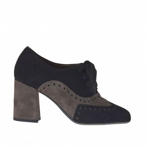Zapato con cordones para mujer en gamuza negra y gris pardo tacon 7 - Tallas disponibles: 32, 33, 42