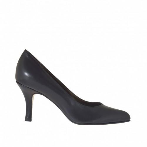 Escarpin pour femmes en cuir couleur noir talon 7 - Pointures disponibles:  42, 44, 45