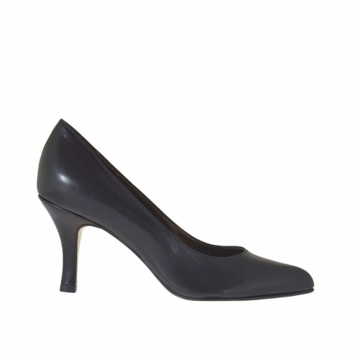 Woman's pump in black leather heel 7 - Available sizes:  42, 44, 45