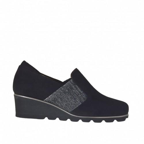 Chaussure à cou-de-pied haut pour femmes avec elastique argent en daim noir talon compensé 4 - Pointures disponibles:  42