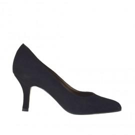 Decolté elegante da donna in camoscio nero tacco 7 - Misura numero 34, 43