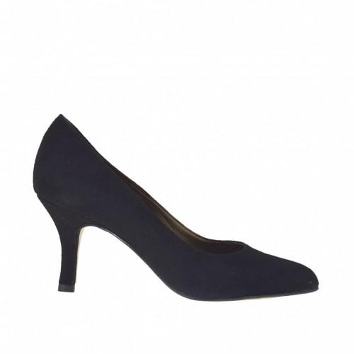 Escarpin élégante pour femmes en daim noir talon 7 - Pointures disponibles:  33, 34, 42, 43, 45