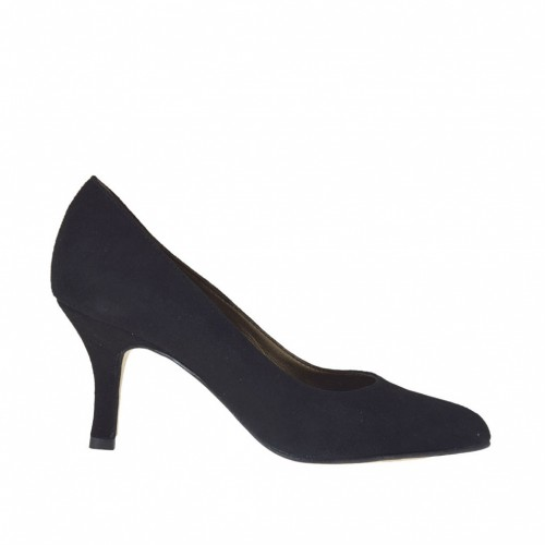 Woman's elegant pump in black suede heel 7 - Available sizes:  33, 34, 43, 45