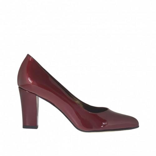 Escarpin à bout pointu pour femmes en cuir verni bordeaux talon carré 7 - Pointures disponibles:  32, 33, 34, 42, 43, 44