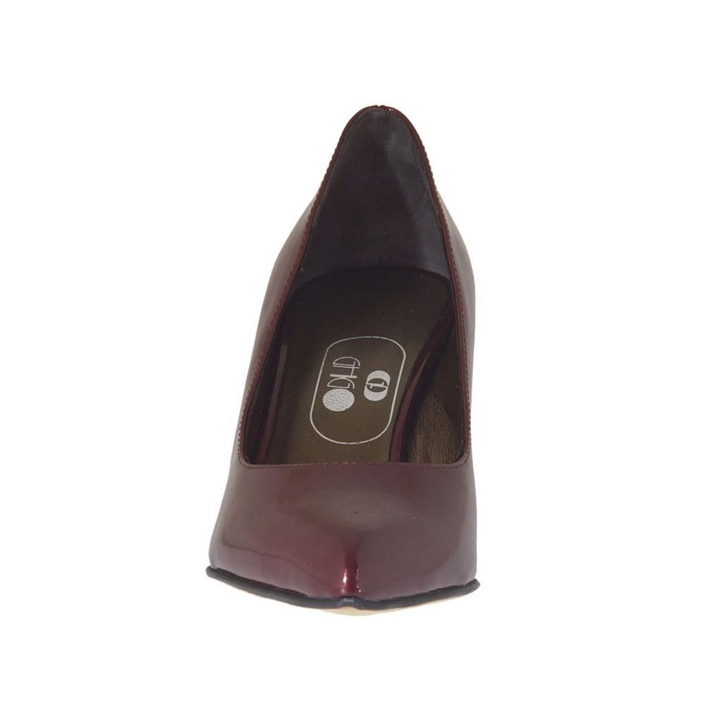 9124b0fc3b41 ... Escarpin à bout pointu pour femmes en cuir verni bordeaux talon carré 7  - Pointures disponibles ...