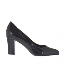 Escarpin à bout pointu pour femmes en cuir verni noir talon carré 7 - Pointures disponibles: 33, 34, 42, 43, 45