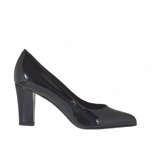 Spitzer Damenpump aus schwarzem Lackleder Blockabsatz 7 - Verfügbare Größen: 33, 34, 42, 43, 45