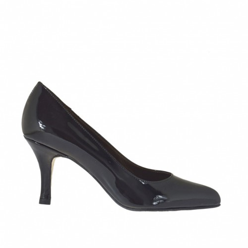 Woman's pump in black patent leather heel 7 - Available sizes:  34, 44, 45
